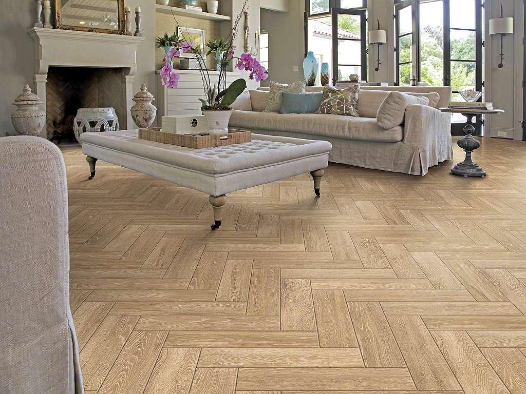 Laying tiles diagonally in a herringbone fashion integrates the tiles - Shaw University Tile